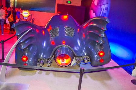 batman: USA, California, Los Angeles, Hollywood, 17 Janua 2015: DC character batman, decorations, Batman sets, celebrity, character Batman, light batman, Batman plane, costume Batman, Batman bike, batman car
