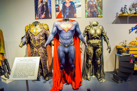 bros: USA, CA, Los Angeles, Hollywood, 11 Janua 2015: Photo of Warner Bros inside views. Studio Tour Hollywood, VIP  TOUR. set lego city movie, Superman suit, decorations, studio Friends TV Show, recording
