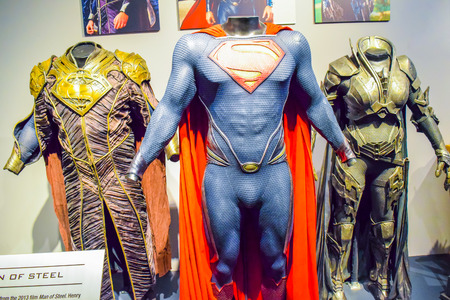 los angeles hollywood: USA, CA, Los Angeles, Hollywood, 11 Janua 2015: Photo of Warner Bros inside views. Studio Tour Hollywood, VIP  TOUR. set lego city movie, Superman suit, decorations, studio Friends TV Show, recording