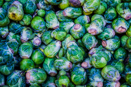 abstract food: background or texture of fresh green Brussel Sprouts. brussel cabbage Stock Photo