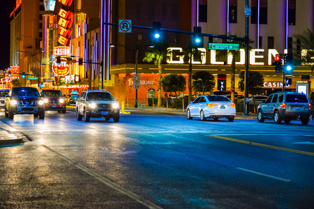 car lots: Las Vegas, NV, USA . January 12, 2016:  las vegas downtown area. Night scene along The Strip in Las Vegas Nevada