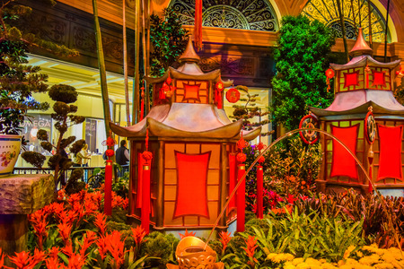 nv: Las Vegas, NV, USA . January 21, 2016: Bellagio hotel and casino inside view Botanical Garden. The Bellagio opened October 15, 1998, it was the most expensive hotel ever built at US$1.6 bn.