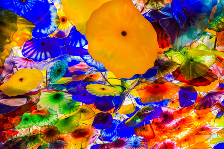 The Hand Blown Glass Flower Ceiling at the Bellagio Hotel. is comprised of 2,000 glass blossoms by glass sculptor Dale Chihuly Stock Photo