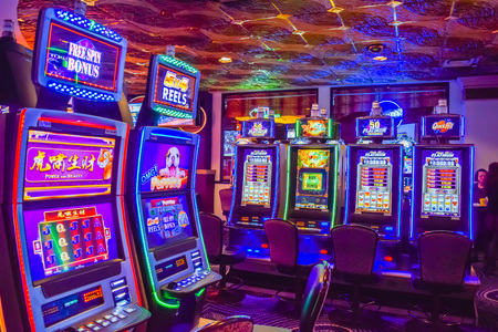 strip club: Las Vegas, NV, USA . January 21, 2016: The interior of Harrahs Las Vegas hotel and casino. Harrahs is a hotel and casino owned and operated by Caesars Entertainment Corporation.