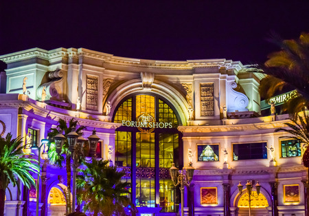 Las Vegas, NV, USA . January 21, 2016: Forum Shops in Las Vegas. The venue includes more than 160 shops and haute couture boutiques, as well as 11 gourmet restaurants.