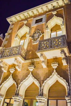 flutter: Las Vegas, NV, USA . January 21, 2016:  The Venetian Resort Hotel & Casino. The resort opened on May 3, 1999 with flutter of white doves, sounding trumpets, singing gondoliers