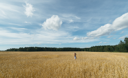 rejoices: Girl runs , rejoices , and breathes the freshness of Russian wheat on the field in summer.