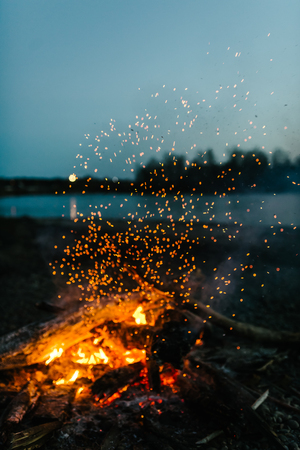 fire in nature . bokeh from the fire . blurred backgrounds . Space views.