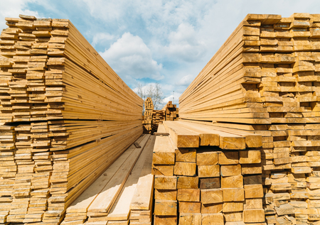 open-air market in the city of lumber . a lot of different construction materials from wood. Stock Photo
