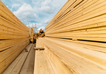 remake: open-air market in the city of lumber . a lot of different construction materials from wood. Stock Photo