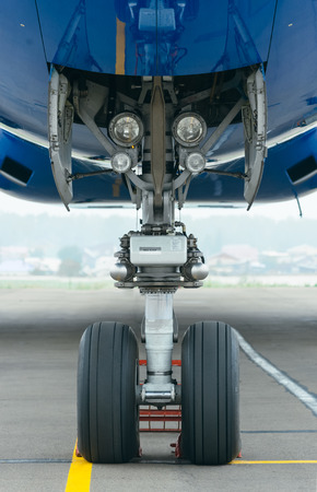 turbofan: airplane wheel Stock Photo