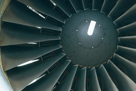 turbofan: Boeing 767. Screw close-up of a turbofan engine .Russia. Siberia. Irkutsk.