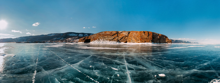 wonderful: Panorama very cool pure ice of the frozen lake with clean fresh. The Lake Baikal.