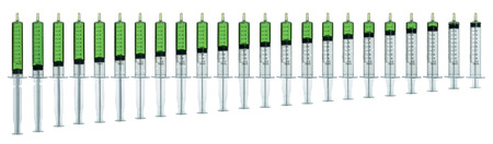 Isolated syringe filled with green medication in increments of 0.5 milliliter of full to empty. Stock Photo