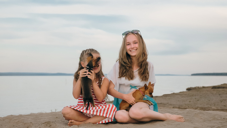 Two children playing which dogs on the sand on the beach. Kid play with dogs. They squeeze them, throw them up. The girls are wearing sunglasses. Dogs Toy Terrier.