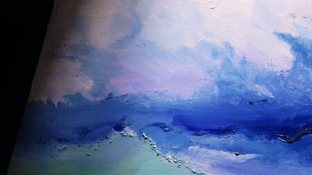 Artist copyist paint seascape with ship in ocean. Craftsman decorator draw as boat sail on blue sea with acrylic oil color. Draw finger, brush, knife palette. Indoor. Close up cinematic look.