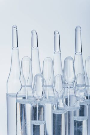 Glass medical ampoule vial for injection.