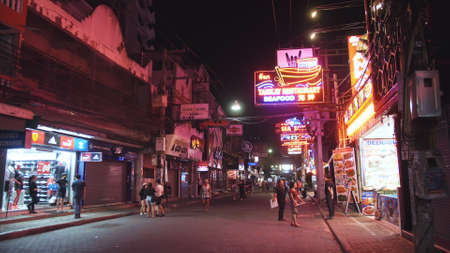 PATTAYA, THAILAND - MARCH 20, 2020: Empty deserted Walking Street. Lockdown quarantine isolation. Concept health safety virus protection coronavirus epidemic sars-cov-2 covid-19 2019-ncov.
