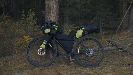 The mixed terrain cycle touring bike with bikepacking. The travel journey with light bicycle bags designed or modified for cycling. The trip on multitrack bike, outdoor road in mountain snow capped. Foto de archivo