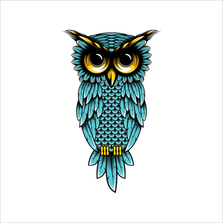 Owl vector design illustration, Owl t-shirt design illustration - Owl logo design inspiration
