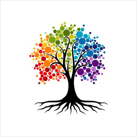 Disegno astratto del logo dell'albero vibrante, vettore della radice - ispirazione del design del logo dell'albero della vita isolato su sfondo bianco
