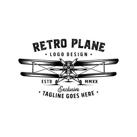 Retro plane logo design inspiration isolated on white background