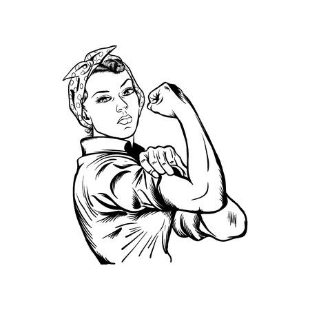Illustrazione vettoriale di Rosie la rivettatrice - vettore della giornata internazionale della donna, sì, possiamo vettore isolato su sfondo bianco Vettoriali