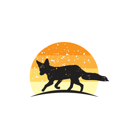 Rustic Fox logo inspiration, Fox silhouette vector islated on white backgorund, hipster logo design element