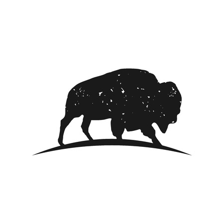 Rustic Bison logo inspiration, Bison silhouette vector isolated on white background, hipster logo design element Çizim