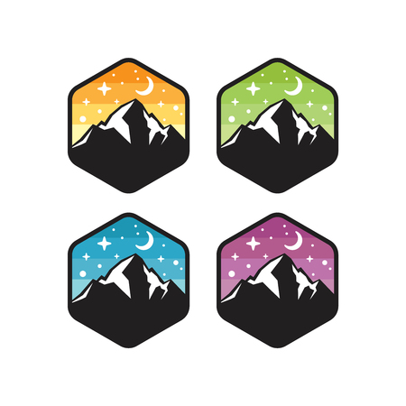 Mountain logo designs vector isolated on white background