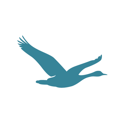 flying goose silhouette vector logo isolated on white background