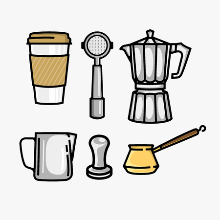 Coffee equipment vector bundle isolated on white background
