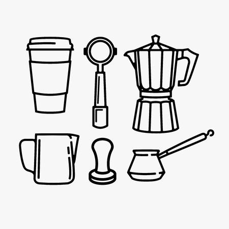 Paquete de vector de equipo de café aislado sobre fondo blanco