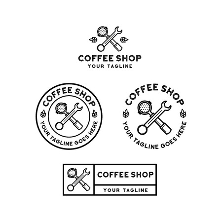 coffee shop logo design inspiration isolated on white background