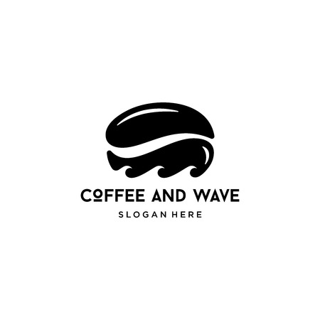 coffee and wave logo design vector isolated on white background