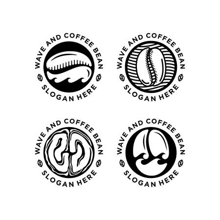 black white coffee shop emblem design bundle isolated on white background