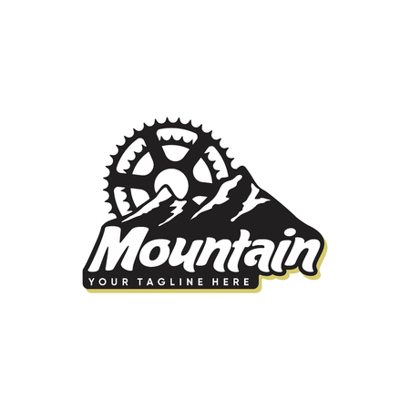mountain and bicycle logo design isolated on white background