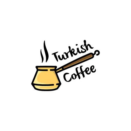 Turkish coffee logo design inspiration, Coffee shop logo inspiration isolated on white background Ilustração