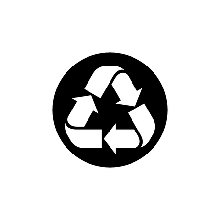 Recycle vector illustration, Recycle sign in black circle vector isolated on white background