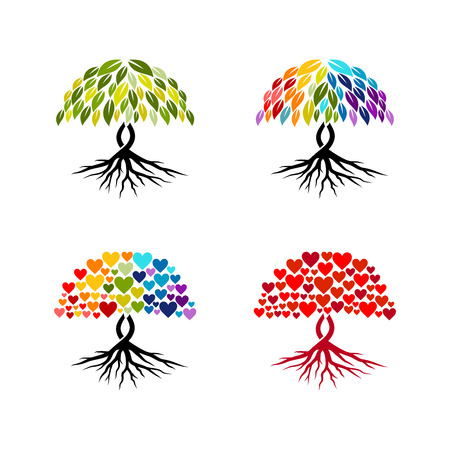Abstract tree vector collection, Colourful abstract tree vector isolated on white background