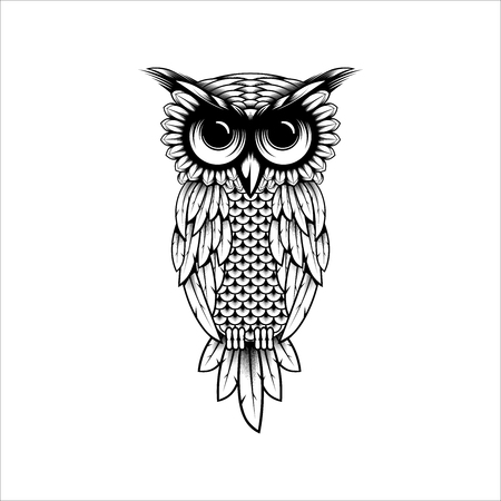 Owl vector design illustration, Owl t-shirt design illustration - Owl logo design inspiration isolated on white background