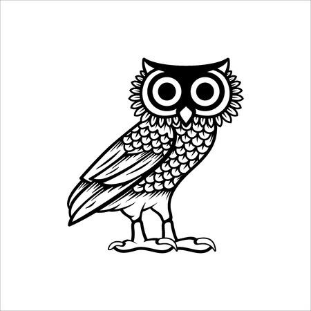 Owl illustration logo vector, owl of athena vector isolated on white background Ilustrace
