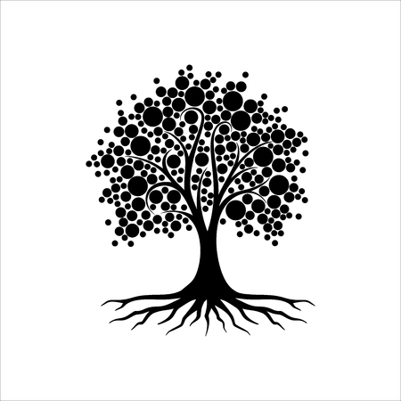 Abstract vibrant tree logo design, root vector - Black abstract tree isolated on white background