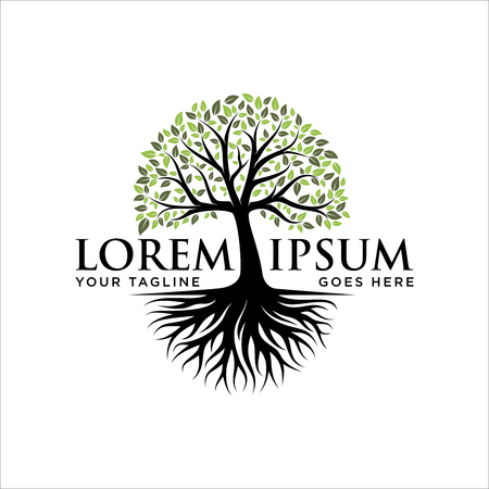 Diseño de logotipo abstracto árbol vibrante, vector raíz - inspiración para el diseño del logotipo del árbol de la vida Logos