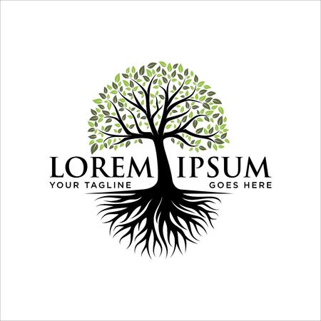 Disegno astratto del logo dell'albero vibrante, vettore della radice - Ispirazione per il design del logo dell'albero della vita Logo