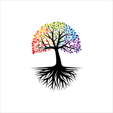 Abstracte levendige boom logo ontwerp, wortel vector - levensboom logo ontwerp inspiratie geïsoleerd op een witte achtergrond