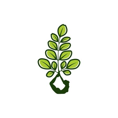 Diseño de logo de Moringa, logo de healty, inspiración de diseño de logo de belleza, inspiración de diseño de logo de yoga natural