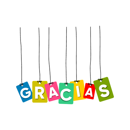 Thank you in Spain language hanging words vector, colourful words vector, gracias vector
