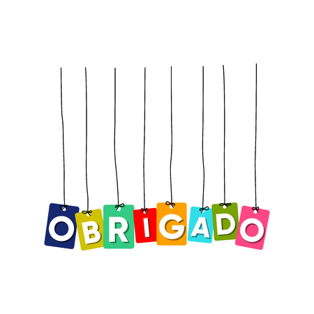 Thank you in PORTUGUESE language hanging words vector, colourful words vector, Obrigado vector isolated on white background Ilustrace