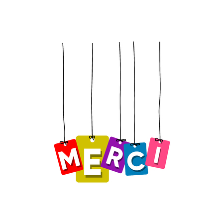 Thank you in France language hanging words vector, colourful words vector, merci vector isolated on white background Ilustrace